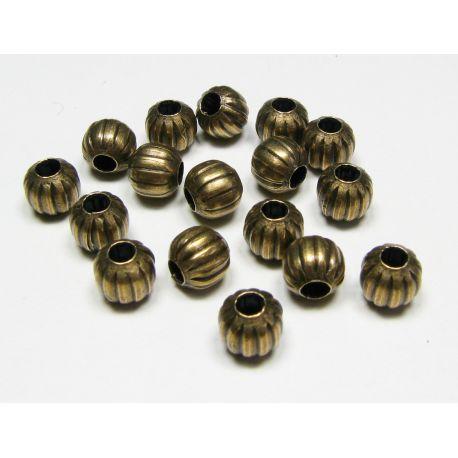 Intarpas sendintos bronzinės spalvos, apvalios formos, briaunuotas dydis 6 mm, 10 vnt