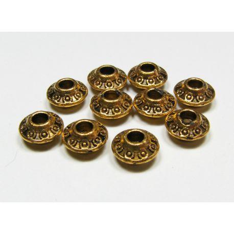 Intarpas skirtas papuošalų gamybai, sendintos aukso spalvos, rondelės formos, dydis 7x4 mm, 1 vnt
