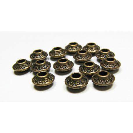 Intarpas sendintos bronzinės spalvos, rondelės formos, dydis 7x4 mm, 10 vnt