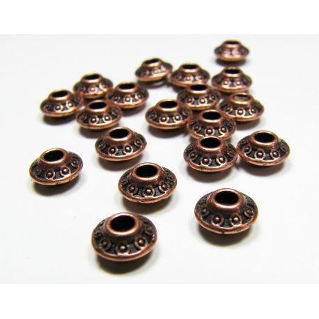 Intarpas skirtas papuošalų gamybai, sendintos vario spalvos, rondelės formos, dydis 7x4 mm, 1 vnt