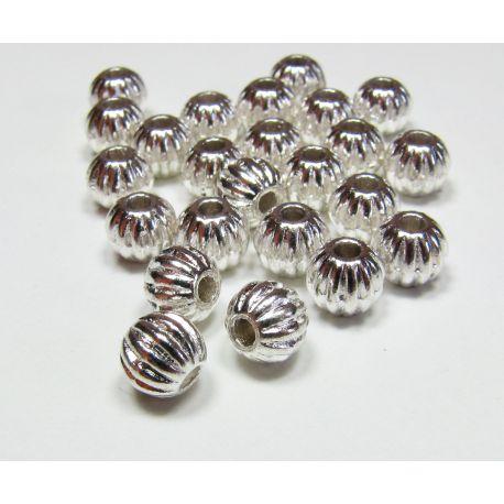 Intarpas skirtas papuošalų gamybai, sidabro spalvos, su briaunelėmis, dydis 7 mm, 10 vnt