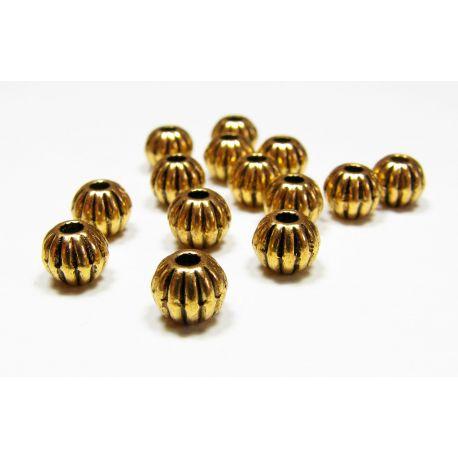 Intarpas skirtas papuošalų gamybai, sendintos aukso spalvos, su briaunelėmis, dydis 7 mm, 10 vnt