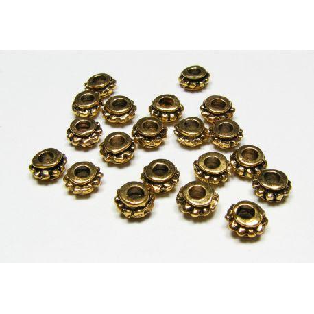 Intarpas skirtas papuošalų gamybai, sendintos aukso spalvos, rondelės formos, dydis 6x4 mm, 10 vnt