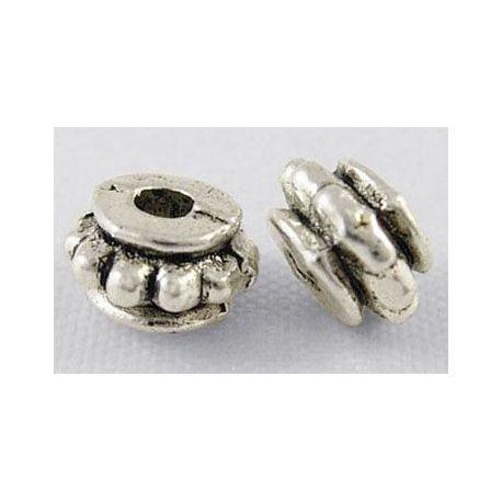 Intarpas skirtas papuošalų gamybai, sendintos sidabro spalvos, rondelės formos, dydis 6x4 mm, 10 vnt