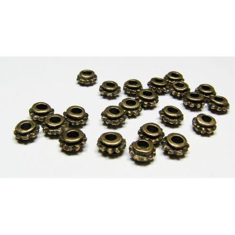 Intarpas skirtas papuošalų gamybai, sendintos bronzinės spalvos, rondelės formos, dydis 6x4 mm, 10 vnt