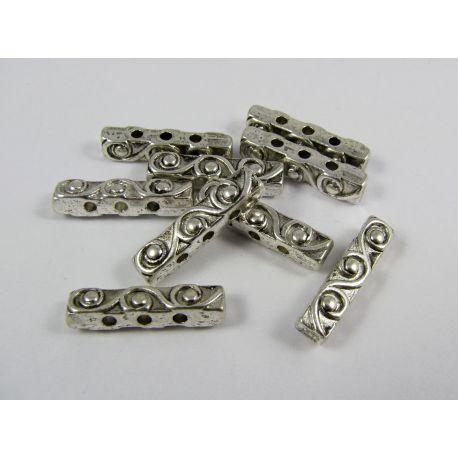 Intarpas skirtas papuošalų gamybai, sendintos sidabro spalvos,3 skylių, dydis 18x4 mm, 1 vnt