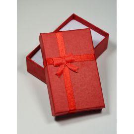 Dovanų dėžutė žiedui, sagei, pakabukui, kartoninė, raudonos spalvos, 80x50 mm, 1 vnt.