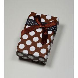 Dovanų dėžutė žiedui, sagei, pakabukui, kartoninė, rudos spalvos su baltais taškiukais, 80x50 mm, 1 vnt.