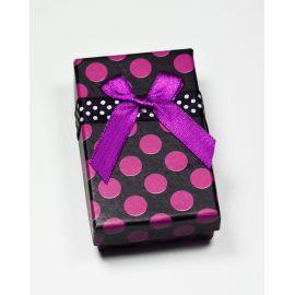 Dovanų dėžutė žiedui, sagei, pakabukui, kartoninė, juodos spalvos su violetiniais taškiukais, 80x50 mm, 1 vnt.