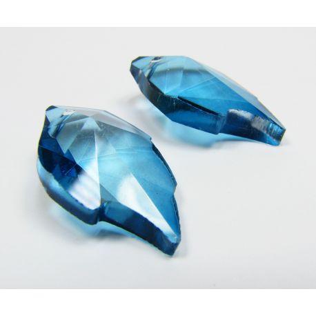 Swarovski kristalo imitacija, mėlynos spalvos, lapo formos, dydis ~25x15 mm, 1 vnt,