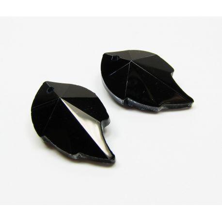 Swarovski kristalas, juodos spalvos, lapo formos, dydis ~25x15 mm, 1 vnt,