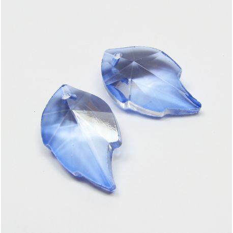 Swarovski kristalo imitacija, šviesiai mėlynos spalvos, lapo formos, dydis ~25x15 mm, 1 vnt,