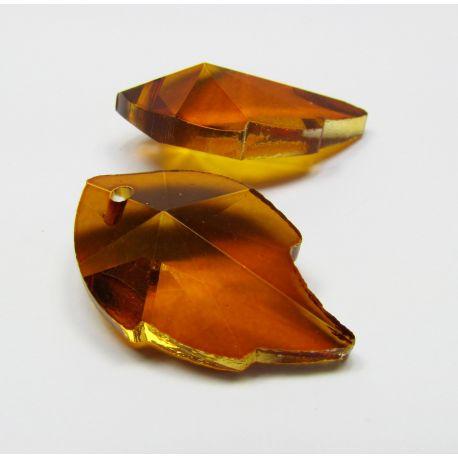 Swarovski kristalo imitacija, rudai oranžinės spalvos, lapo formos, dydis ~25x15 mm, 1 vnt,