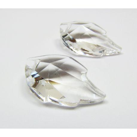 Swarovski kristalo imitacija, skaidrios spalvos, lapo formos, dydis ~25x15 mm, 1 vnt,