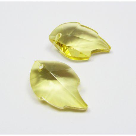 Swarovski kristalo imitacija, geltonos spalvos, lapo formos, dydis ~25x15 mm, 1 vnt,