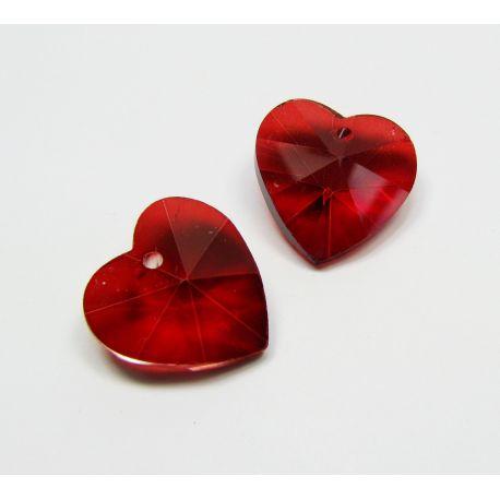 Swarovski kristalas, ryškiai raudonos spalvos, širdelės formos, dydis ~18x18 mm, 1 vnt.