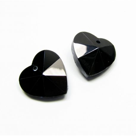 Swarovski kristalas, juodos spalvos, širdelės formos, dydis ~18x18 mm, 1 vnt.