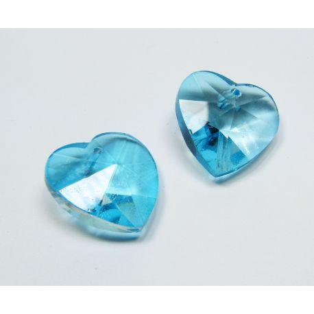 Swarovski kristalas, žydros spalvos, širdelės formos, dydis ~18x18 mm