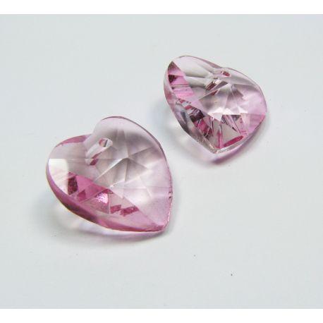 Swarovski kristalas, šviesios rožinės spalvos, širdelės formos, dydis ~18x18 mm, 1 vnt.
