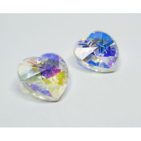 Swarovski kristalas, skaidrios spalvos su AB danga, širdelės formos, dydis ~18x18 mm, 1 vnt.