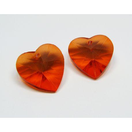Swarovski kristalas, oranžinės spalvos, širdelės formos, dydis ~18x18 mm