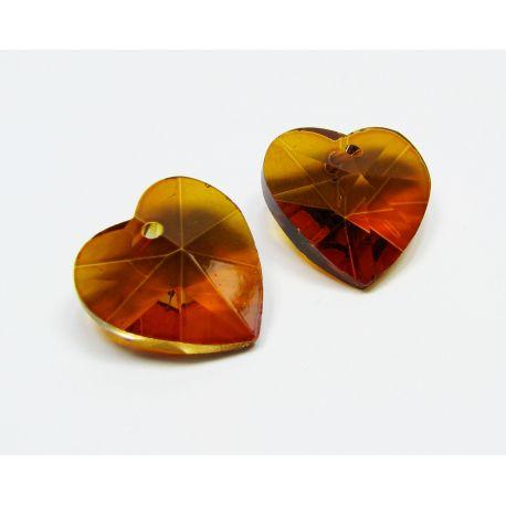 Swarovski kristalas, rudai oranžinės spalvos, širdelės formos, dydis ~18x18 mm, 1 vnt.