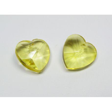 Swarovski kristalas, geltonos spalvos, širdelės formos, dydis ~18x18 mm