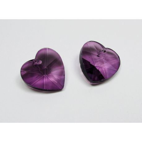 Swarovski kristalas, violetinės spalvos, širdelės formos, dydis ~18x18 mm, 1 vnt.