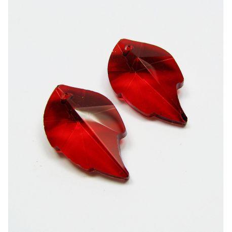 Swarovski kristalo imitacija, raudonos spalvos, lapo formos, dydis ~25x15 mm