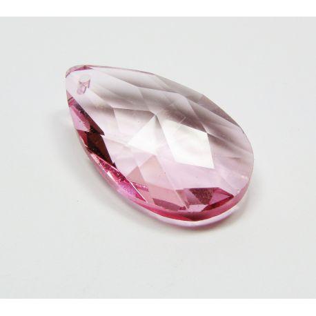 Swarovski kristalo imitacija, rožinės spalvos, lašo formos, dydis ~38x22 mm