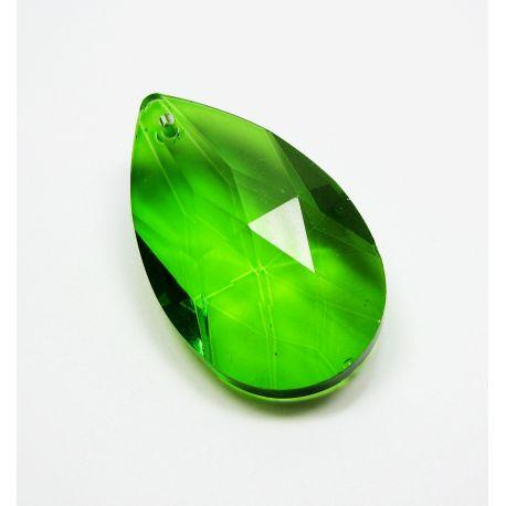 Swarovski kristalo imitacija, žalios spalvos, lašo formos, dydis ~38x22 mm