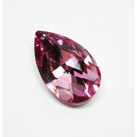 Swarovski kristalo imitacija, rožinės spalvos su sidabro spalvos nugarėle, lašo formos, dydis ~38x22 mm