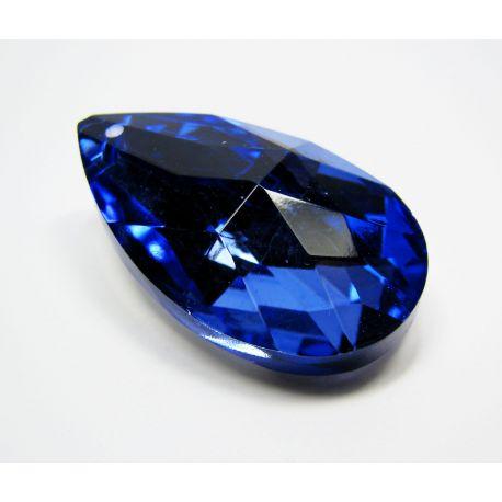 Swarovski kristalo imitacija, mėlynos spalvos su sidabro spalvos nugarėle, lašo formos, dydis ~38x22 mm