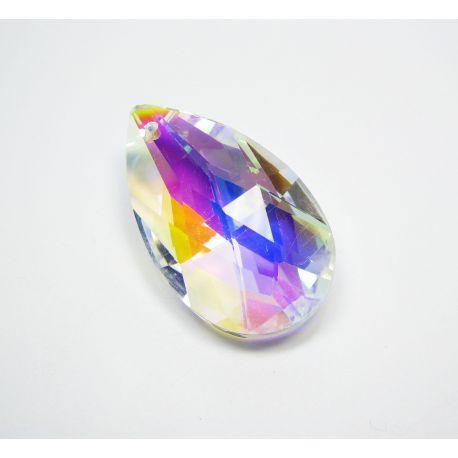 Swarovski kristalo imitacija, skaidrio spalvos su AB danga, lašo formos, dydis ~38x22 mm