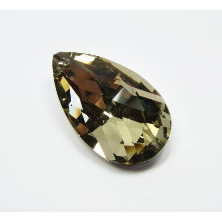 Swarovski kristalo imitacija, šviesiai rudos-dūmo spalvos, lašo formos, dydis ~38x22 mm