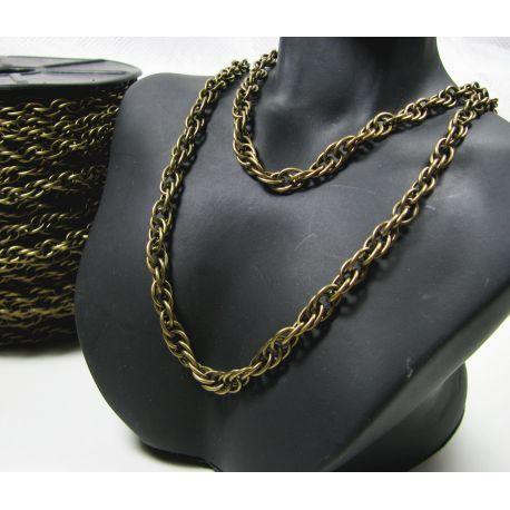 Grandinėlė sendintos bronzinės spalvos, pakabukams, rankdarbiams, papuošalams 5x4 mm, 50 cm ilgio