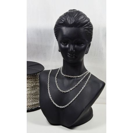Grandinėlė sidabro spalvos, pakabukams, rankdarbiams, papuošalams 3,5x2,5 mm, 1 m ilgio