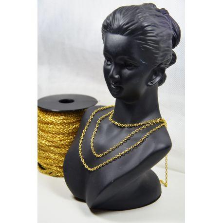 Grandinėlė aukso spalvos, pakabukams, rankdarbiams, papuošalams 3,5x2,5 mm, 1 m ilgio