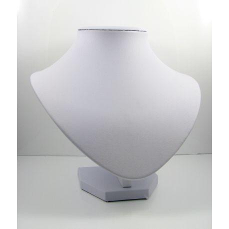Papuošalų eksponavimo stovas - biustas, dirbitinės odos, baltos spalvos 19x15 cm 1 vnt