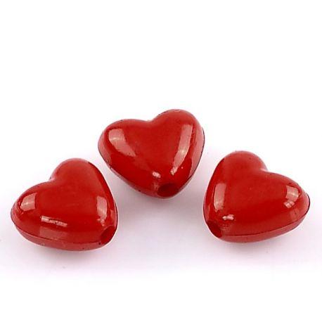 """Akriliniai karoliukai """"Širdelė"""" raudonos spalvos ~11x10 mm"""