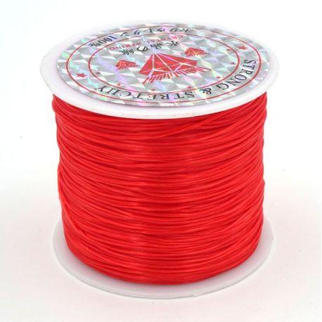 Elastinis siūlas/gumytė skirtas papuošalų, rankdarbių gamyboje, raudonos spalvos, 0.80 mm storio 10 metrų