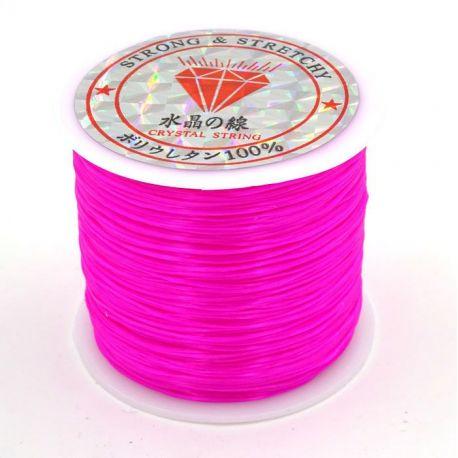 Elastinis siūlas/gumytė skirtas papuošalų, rankdarbių gamyboje, ryškiai rožinės - avietinės spalvos, 0.80 mm storio 10 metrų