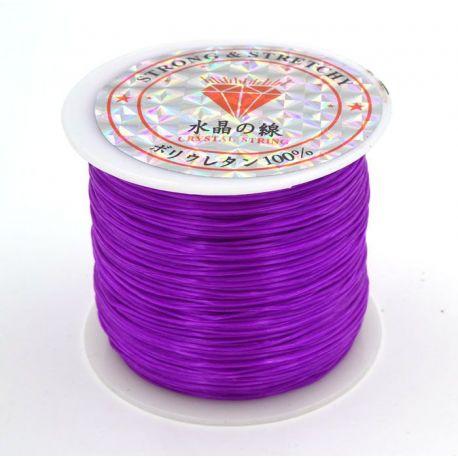 Elastinis siūlas/gumytė skirtas papuošalų, rankdarbių gamyboje, violetinės spalvos, 0.80 mm storio 10 metrų