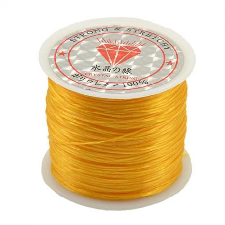 Elastinis siūlas/gumytė skirtas papuošalų, rankdarbių gamyboje, oranžinės spalvos, 0.80 mm storio 10 metrų