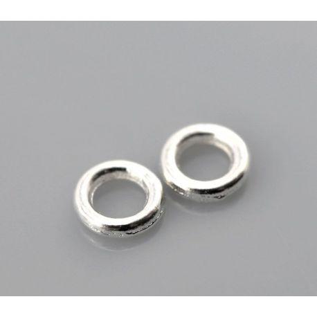 Uždaras žiedelis skirti papuošalų,rankdarbių gamybai, sidabro spalvos 4 mm 10 vnt.