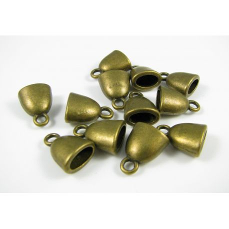 Kepurėlė žgutams, skirta papuošalų gamybai sendintos bronzinės spalvos 10x6 mm