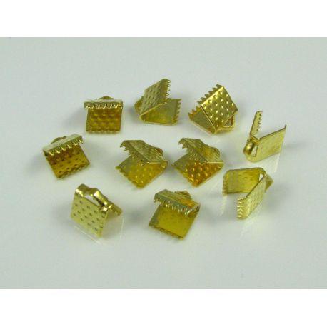 Juostelių užspaudėjas skirtas satino, atlasinėms juostelėms, aukso spalvos, dydis 6x6, 10 vnt.