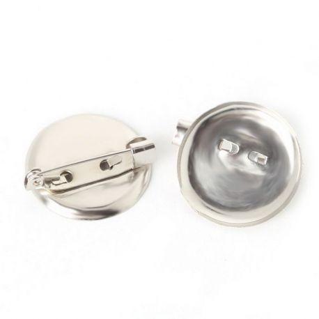 Pagrindas sagei, galima įklijuoti kabošoną ar kamėją, sidabro spalvos , diskas - 20 mm