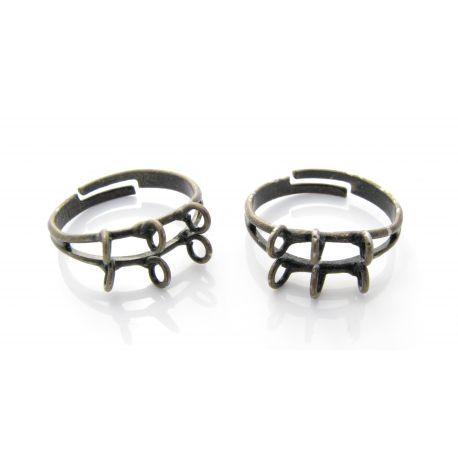 Reguliuojamas žiedo pagrindas, sendintos bronzinės spalvos, 6 kilpučių 16mm