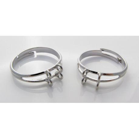 Reguliuojamas žiedo pagrindas, sidabro spalvos, 4 kilpučių 16mm